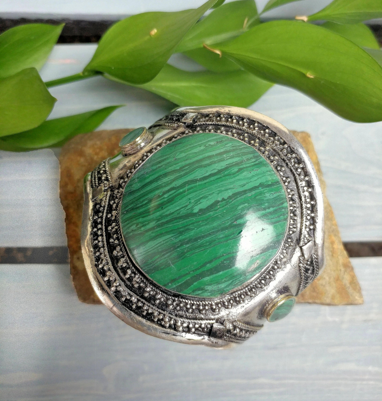 Ring Circle Gemstone Afghan Kuchi Tribal Alpaca Silver Size 10