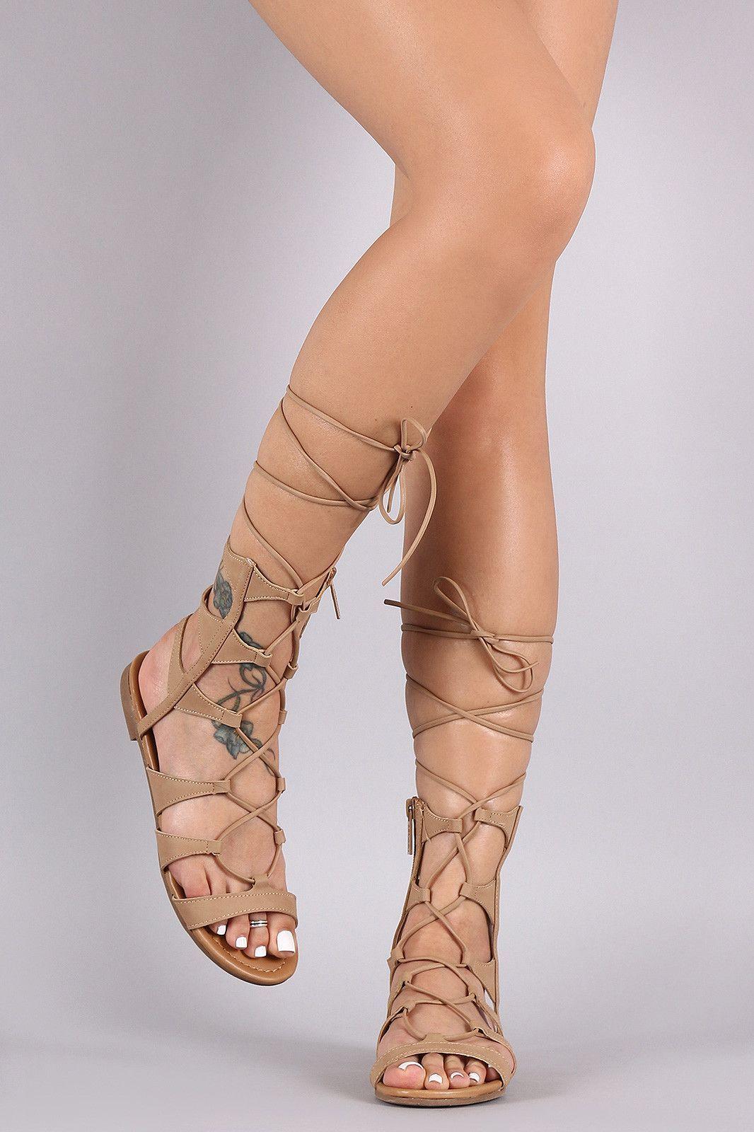fa241d0f6e1 Breckelle Strappy Lace-Up Gladiator Flat Sandal