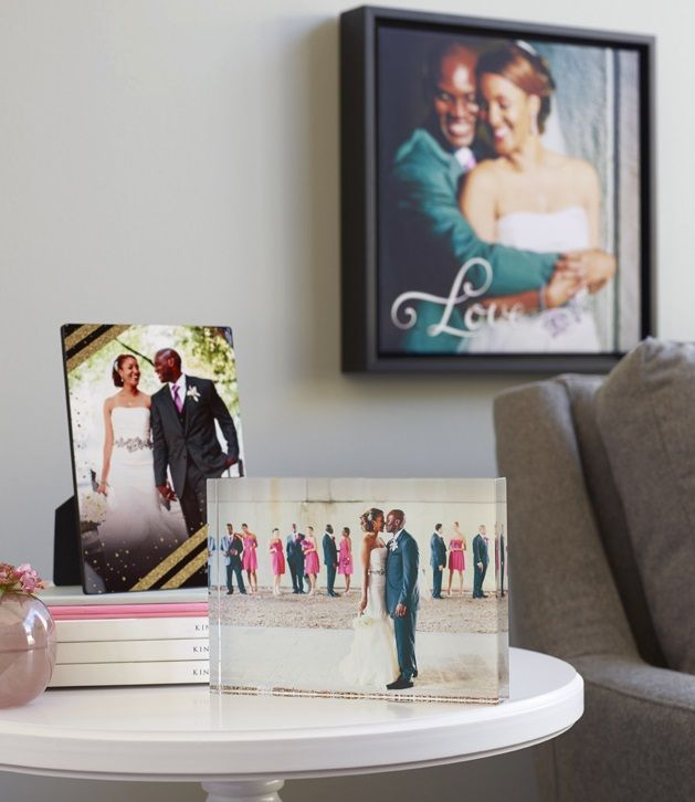 Make the newlyweds day with personalized home accents and elegant decor feature a special moment on a framed canvas or desktop plaque