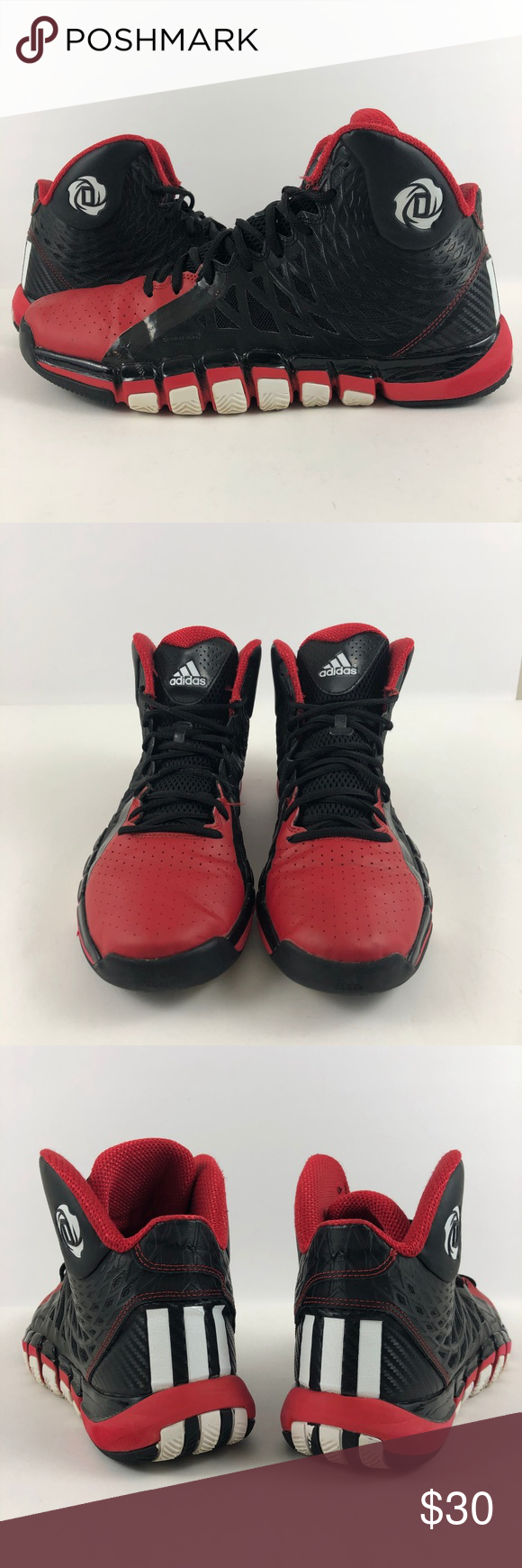 sports shoes 64dbc 0b032 adidas D Rose 773 II 2 Derrick Black white red adidas D Rose 773