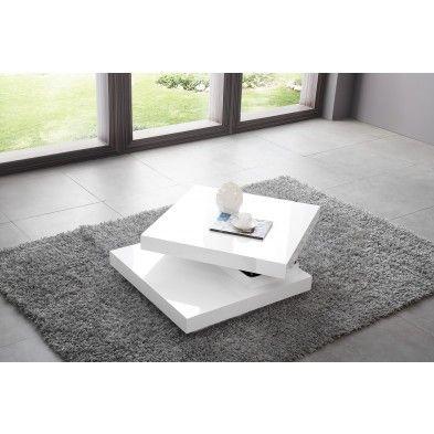 Table Basse Carree A Plateau Pivotant Design Blanc Laque Table