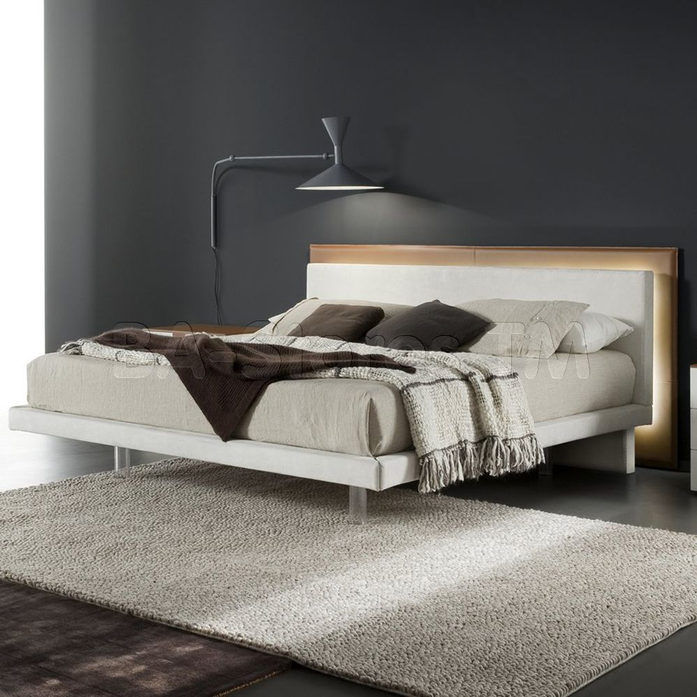 Rossetto USA Libriamo Bed with LED Light in White/Brown by Rossetto ...