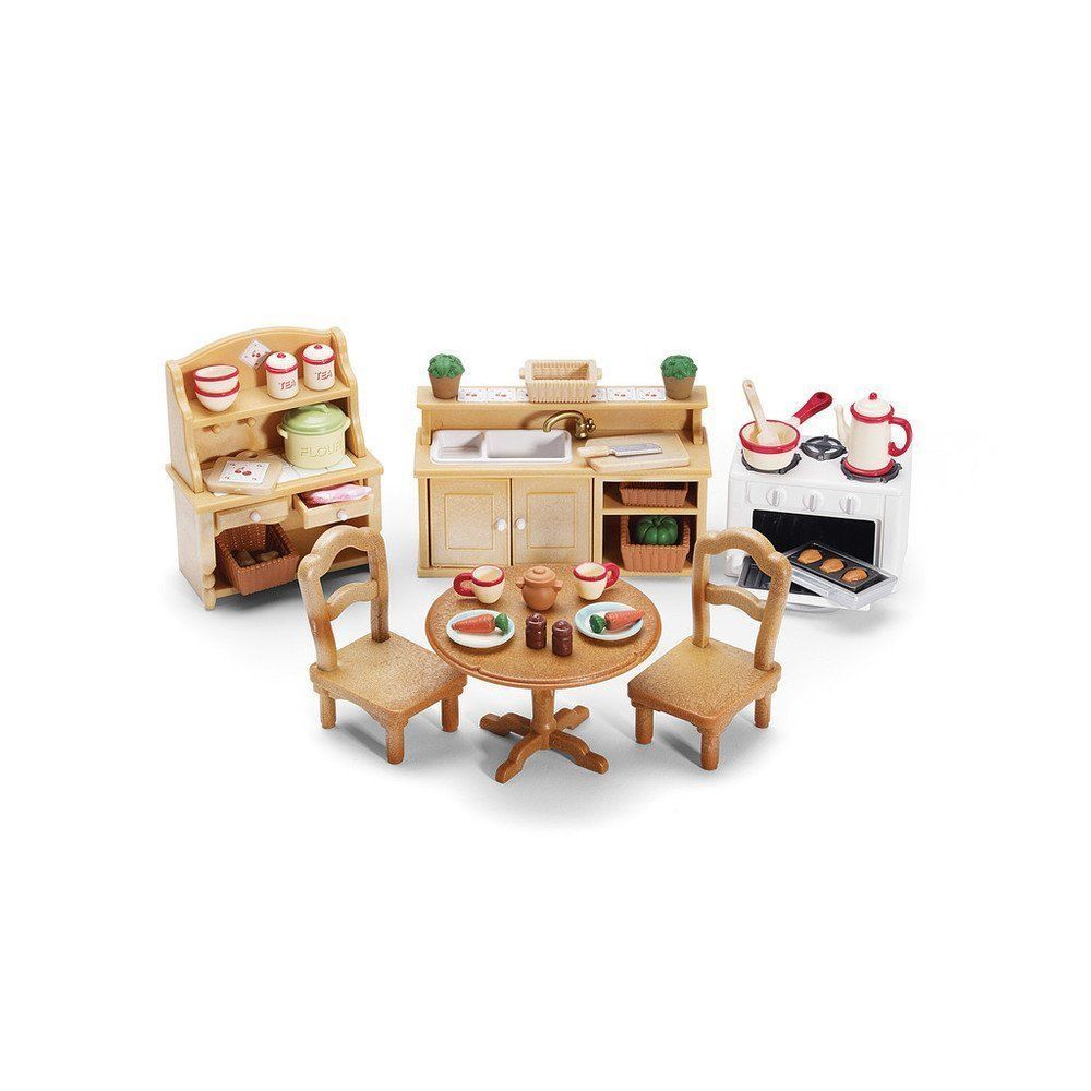 Details About Calico Critters Deluxe Kitchen Set Includes Over 40 Accessories Calico Critters Furniture Playset Kitchen Sets