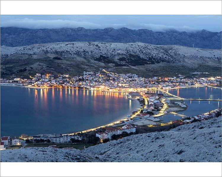 Photograph-Europe, Croatia, Dalmatia, Zadar region, Pag island, Pag town at dusk-10