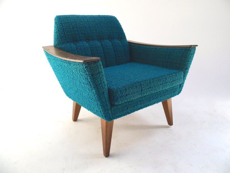 Vintage Scandinavian Turquoise Blue Wool Stitched Armchair