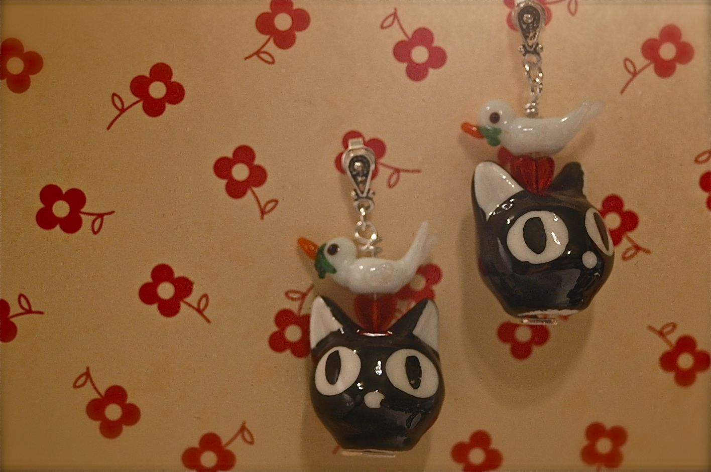 Black Cat & Birds, Earrings