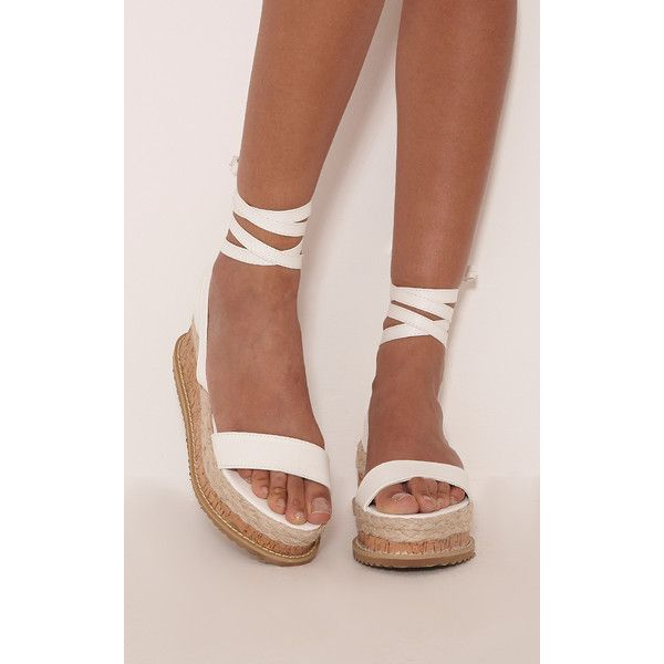 81141bba16c Jacey White Espadrille Flatform Sandals ( 37) ❤ liked on Polyvore featuring  shoes