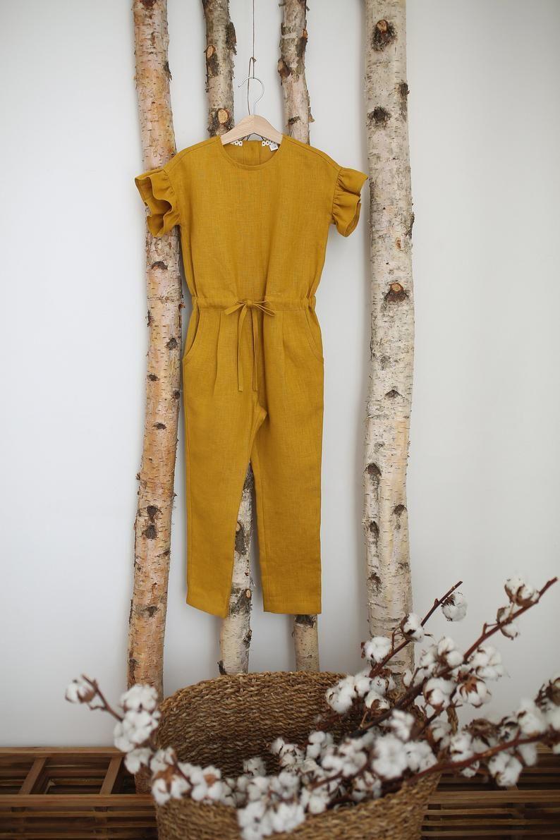 Linen kids jumpsuit Linen overall for girls Yellow linen | Etsy
