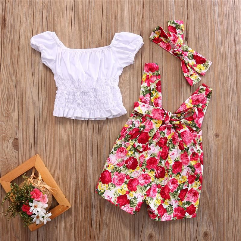 10f159e039da7 Carrie crop top, headband, suspenser, romper, flowers, floral, girls, girl, baby  babies, toddler fashion, clothes clothing, outfits, spring, summer, ...