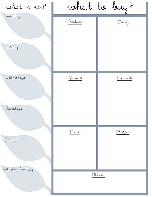 Cute menu planner + shopping list organizer Available for - menu planner templates