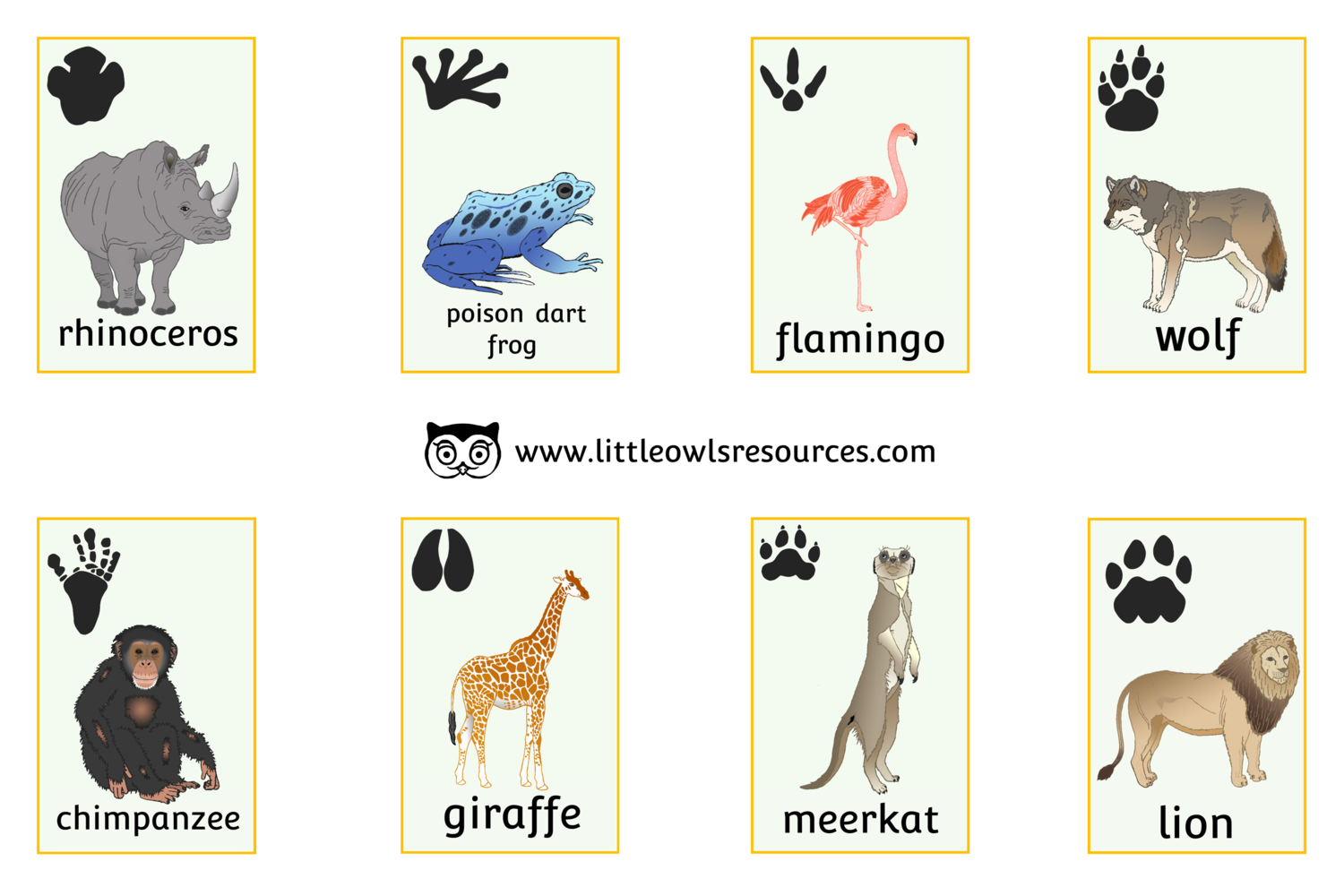 FREE Zoo Animal Snap Cards printable Early Years/EY (EYFS