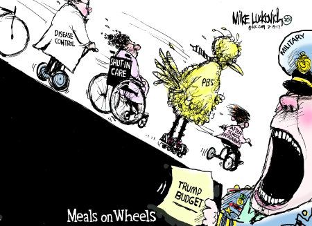 Image result for trump budget cuts cartoon