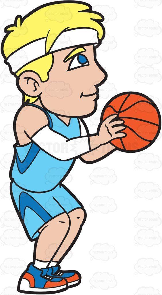 A Male Basketball Player Shooting A Free Throw #cartoon #clipart #vector #vectortoons #stockimage #stockart #art