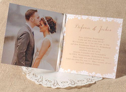 Klassisch spitze und foto einladungskarte p opl030 1 for Hochzeitseinladungen vintage mit spitze