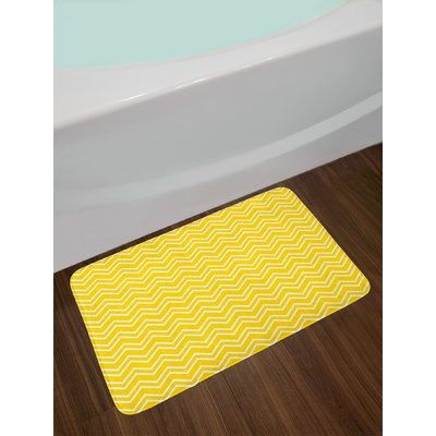 East Urban Home Zig Yellow And White Yellow Bath Rug Yellow Bath