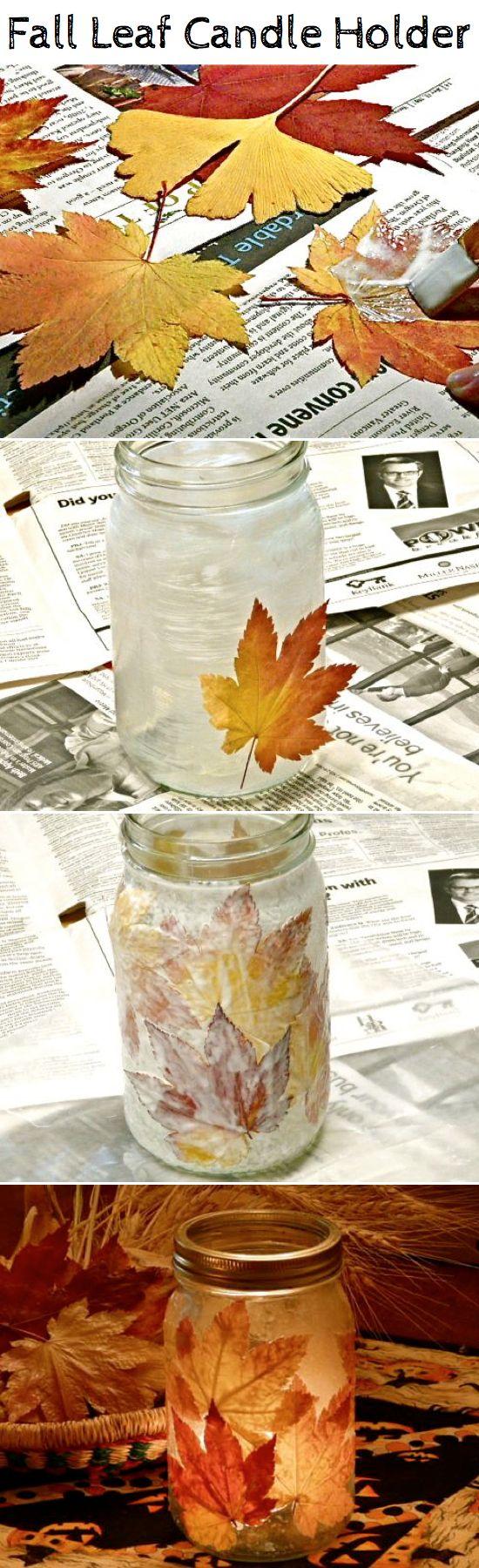 Diy halloween wedding decorations  DIY Fall Leaf Candle Holder  decoupage  Pinterest  Fall leaves