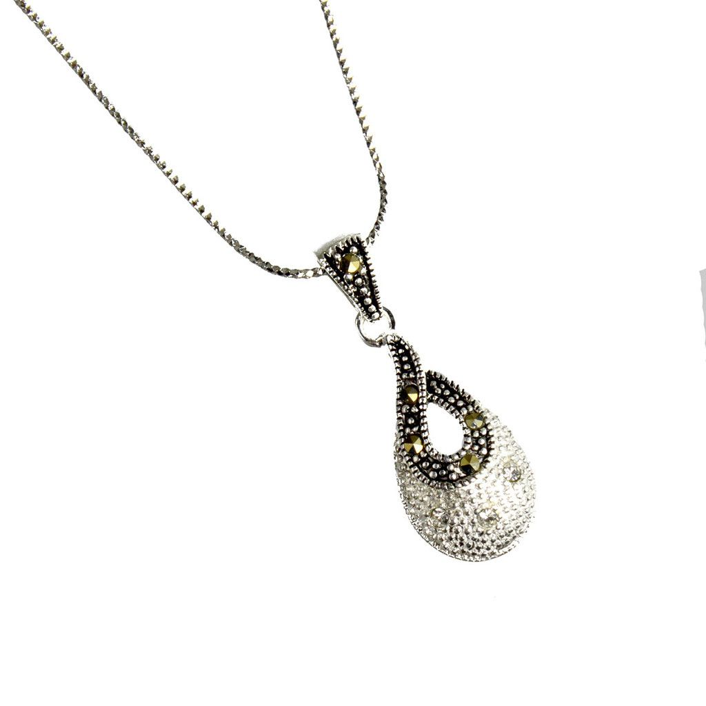 Sterling Silver Marcasite & CZ Teardrop Pendant Necklace