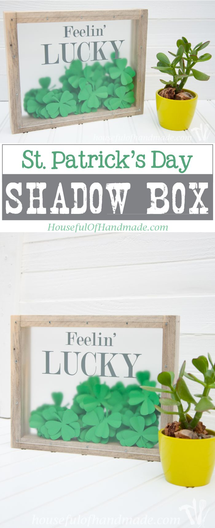I love this fun St. Patrick's Day shadow box. The perfect way to bring a little green to your decor. | Housefulofhandmade.com