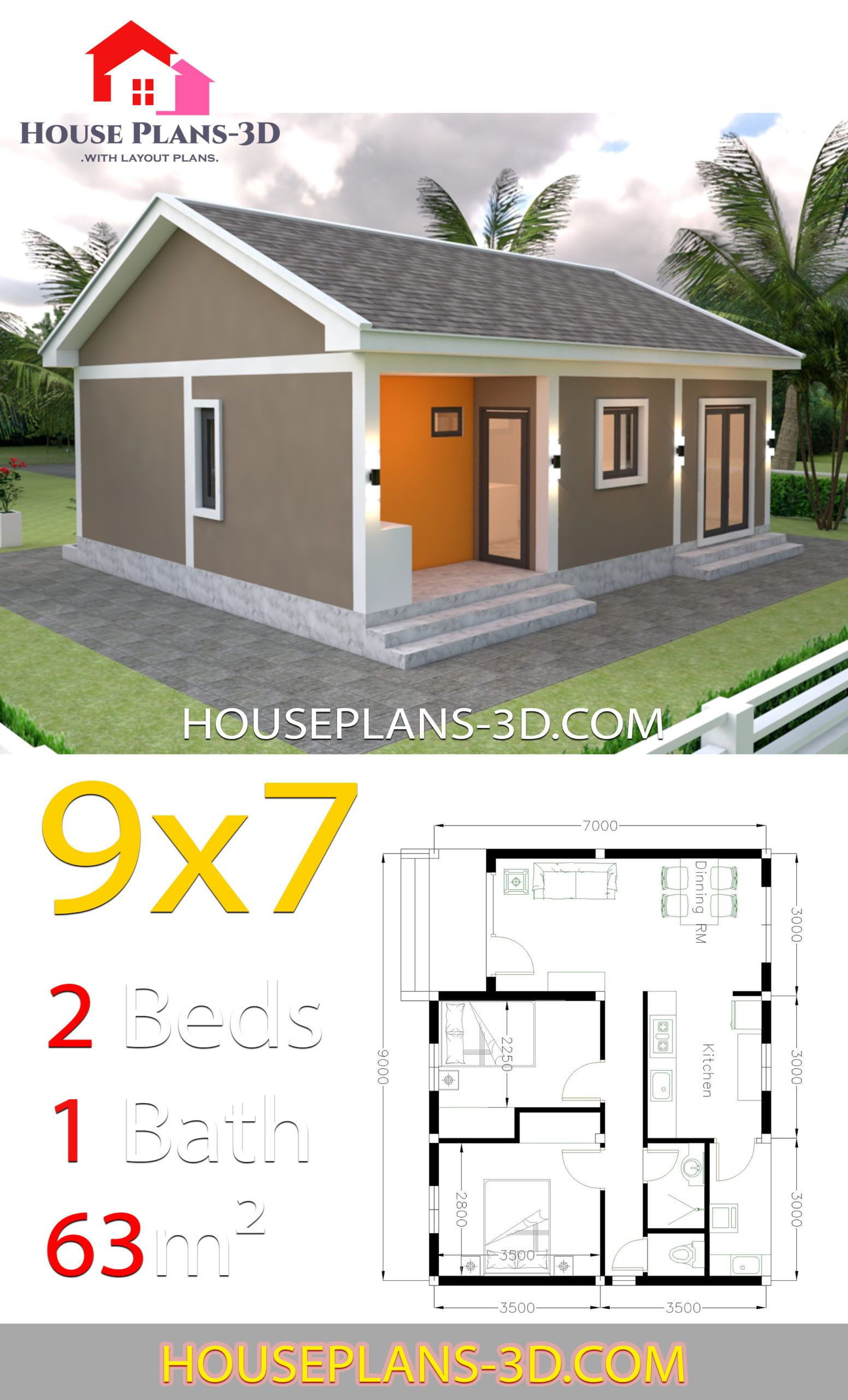 House Plans 9x7 With 2 Bedrooms Gable Roof House Plans 3d In 2020 House Plans Gable Roof House My House Plans