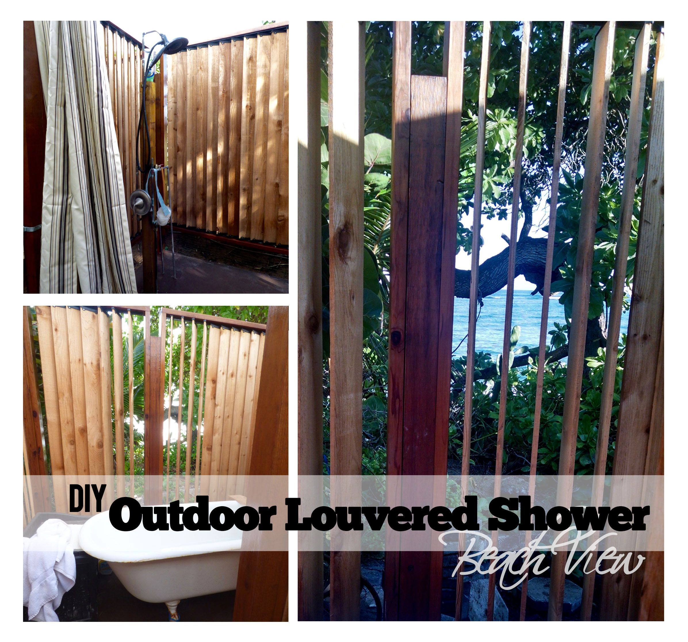 diy outdoor louvered shower, perfect for a backyard with a beach
