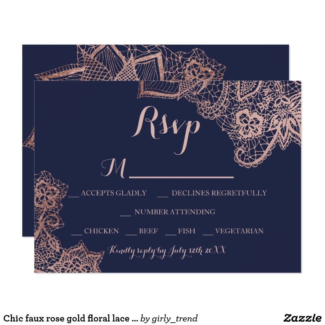 Chic Faux Rose Gold Floral Lace Navy Blue Rsvp Card Rsvp And Weddings