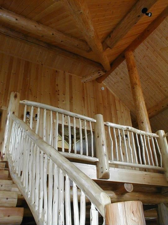 Cedar log home, log stairs and rustic Aspen log hand ...
