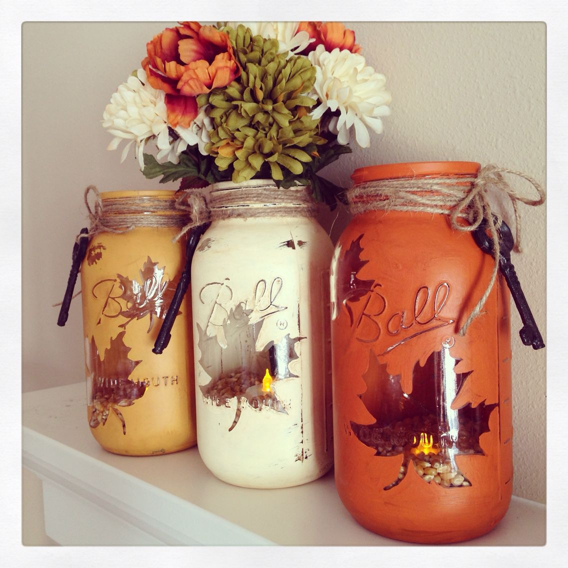 Fall jars and home decor by The Pink Pinecone Studio