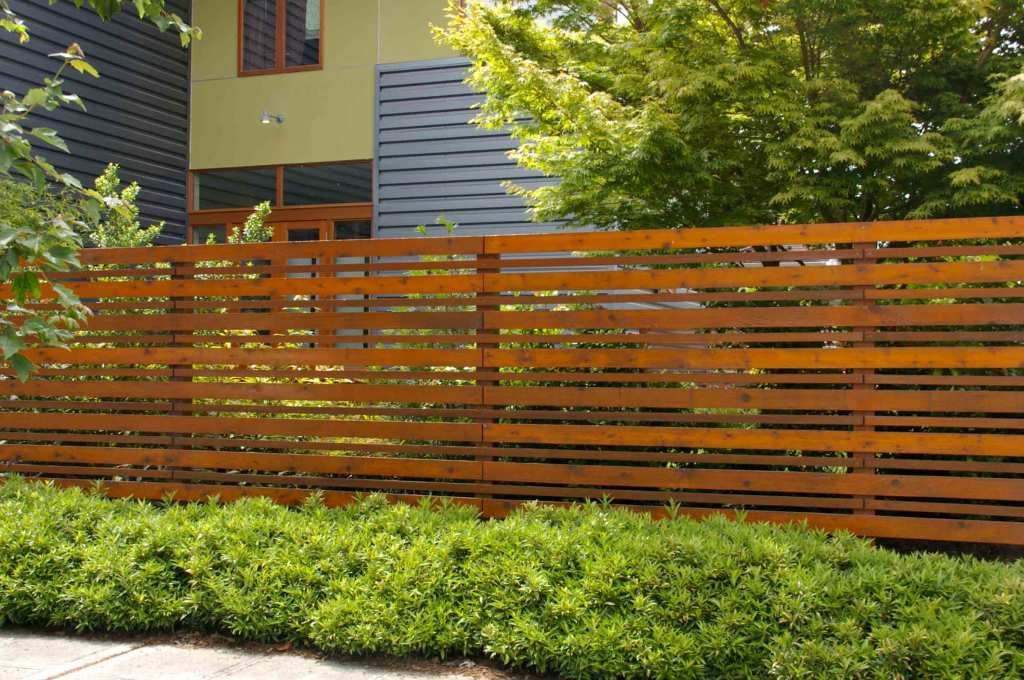 Exterior Horizontal Fence From Brown Wooden Teak Wood