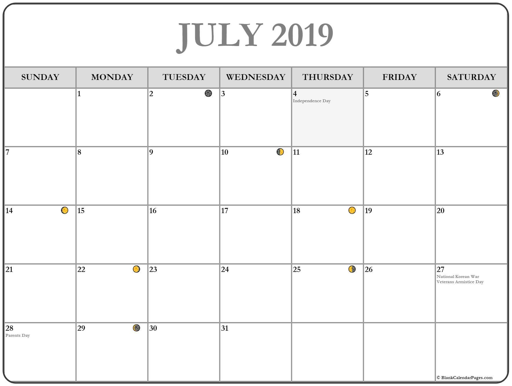 July 2019 Calendar Free Printable Monthly Calendars July