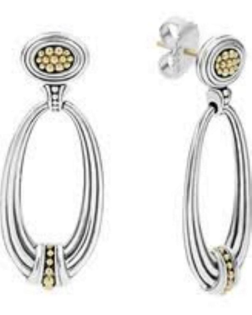 0361f985314 LAGOS Caviar 18K Gold 925 St Silver Omega Drop EARRINGS