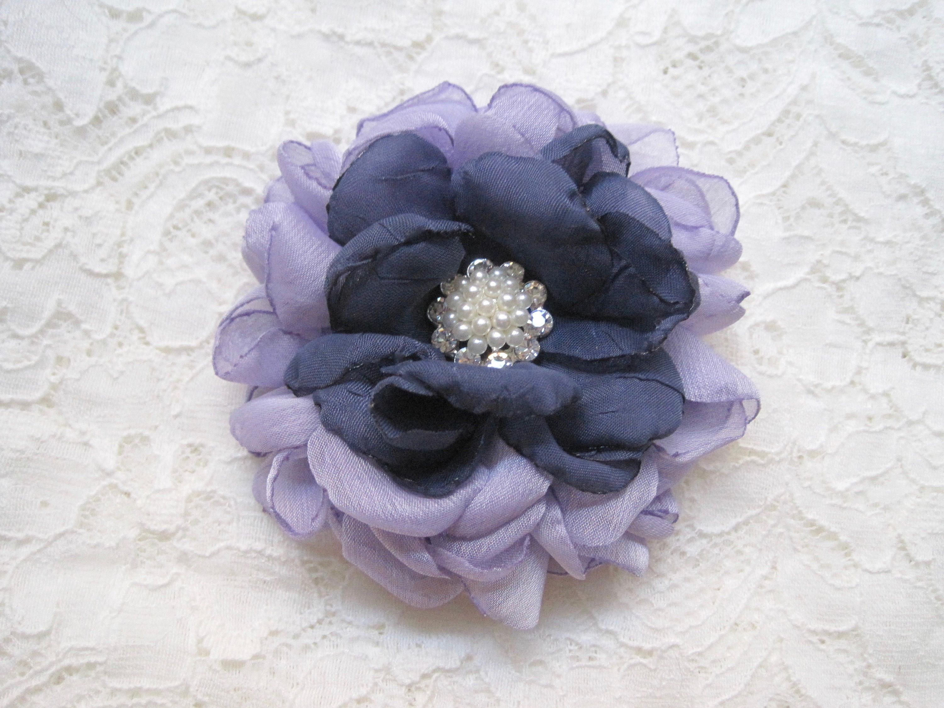 Lavender and Steel Blue Chiffon Hair Clip Bridal Bride Bridesmaid Mother of the Bride with Rhinestone Accent Hair Accessories Bridal by theraggedyrose on Etsy