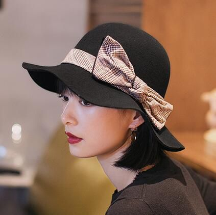 0fdf5ef4a8f Plaid bow bucket hat for women wine wool hats autumn wear