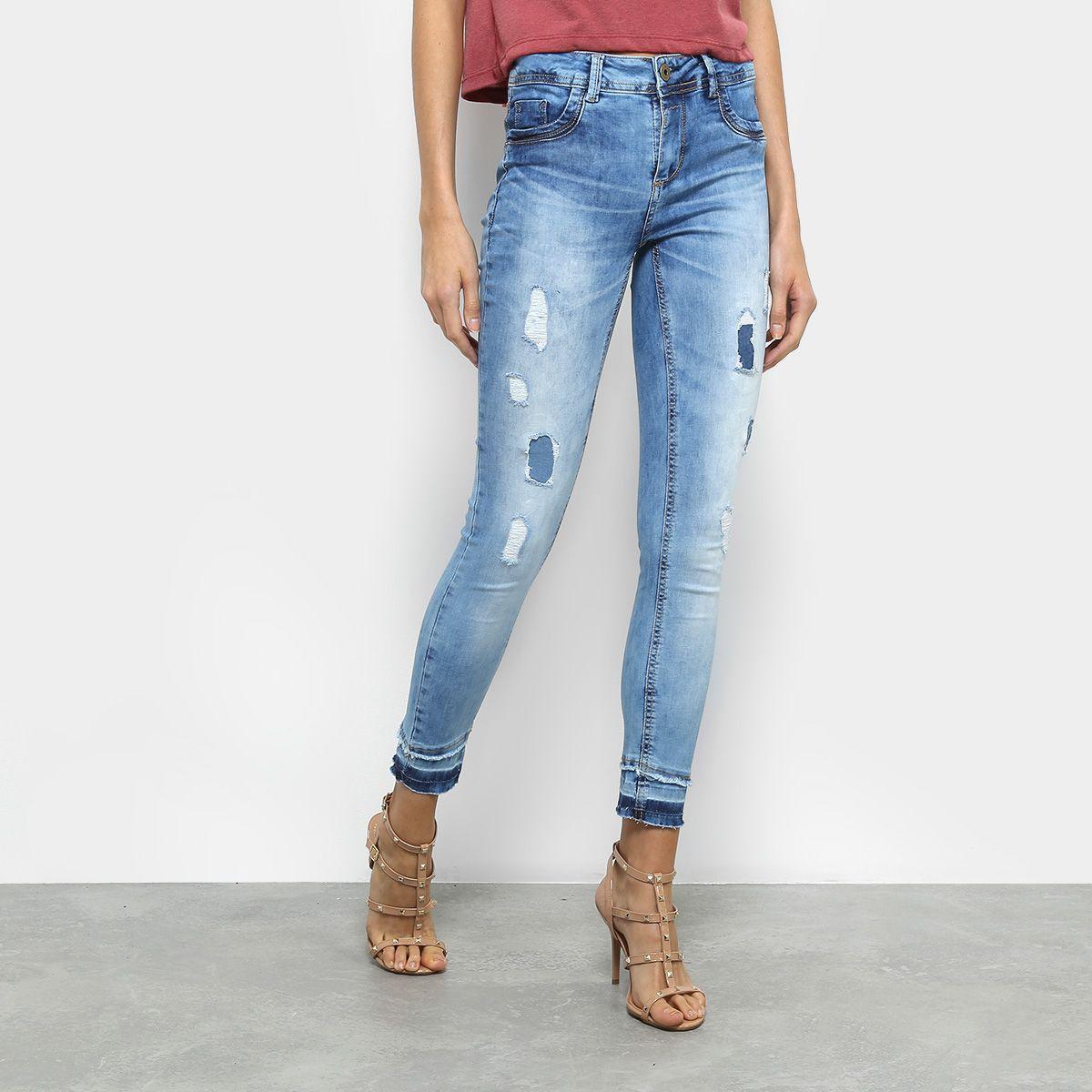 Calça Jeans Cigarrete Sawary Estonada Rasgos Cintura Média Feminina -  Compre Agora  44fd3ba38a7be
