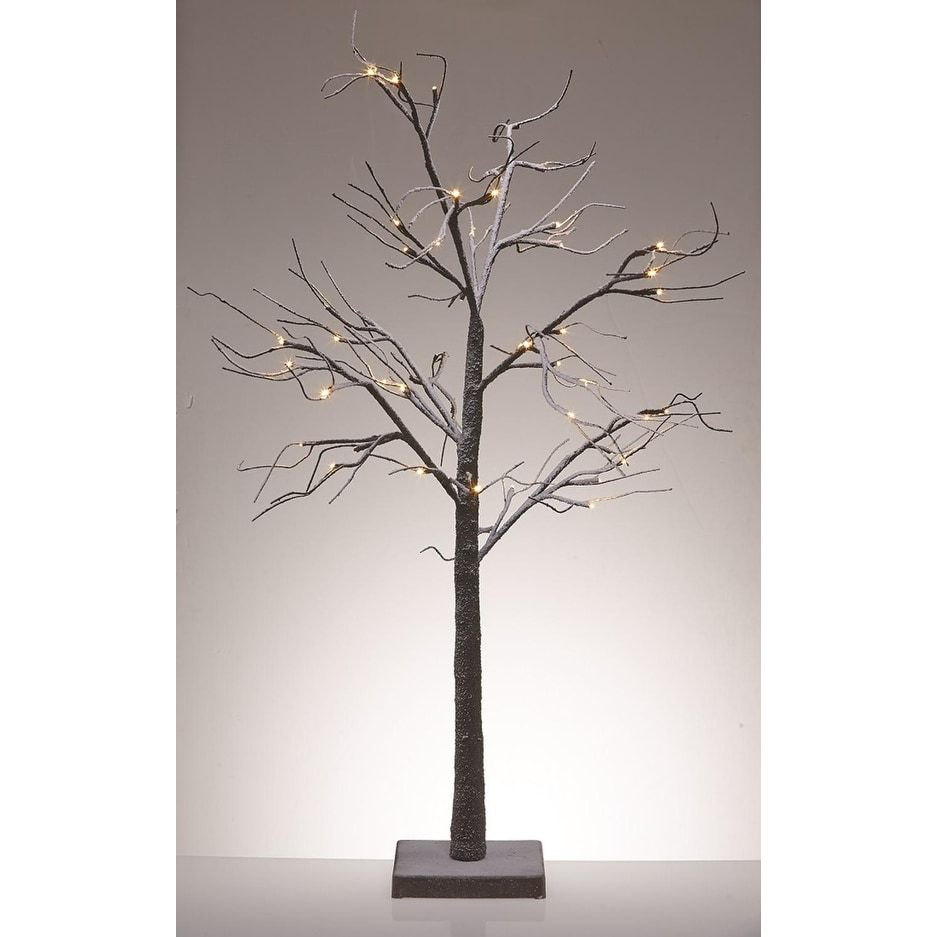"""Table Top Lighted Christmas Tree: 48"""" LED Lighted Poseable Snowy Brown Leafless Twig Tree"""