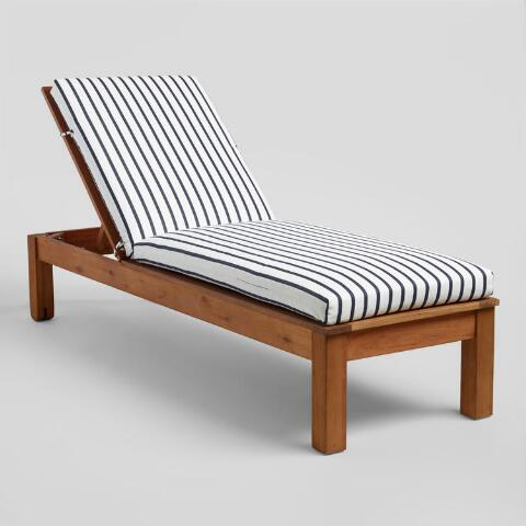 Sunbrella Indigo Lido Stripe Outdoor Chaise Lounge Cushion World Market Outdoor Chaise Lounge Chair Outdoor Chaise Lounge Cushions Chaise Lounge Cushions
