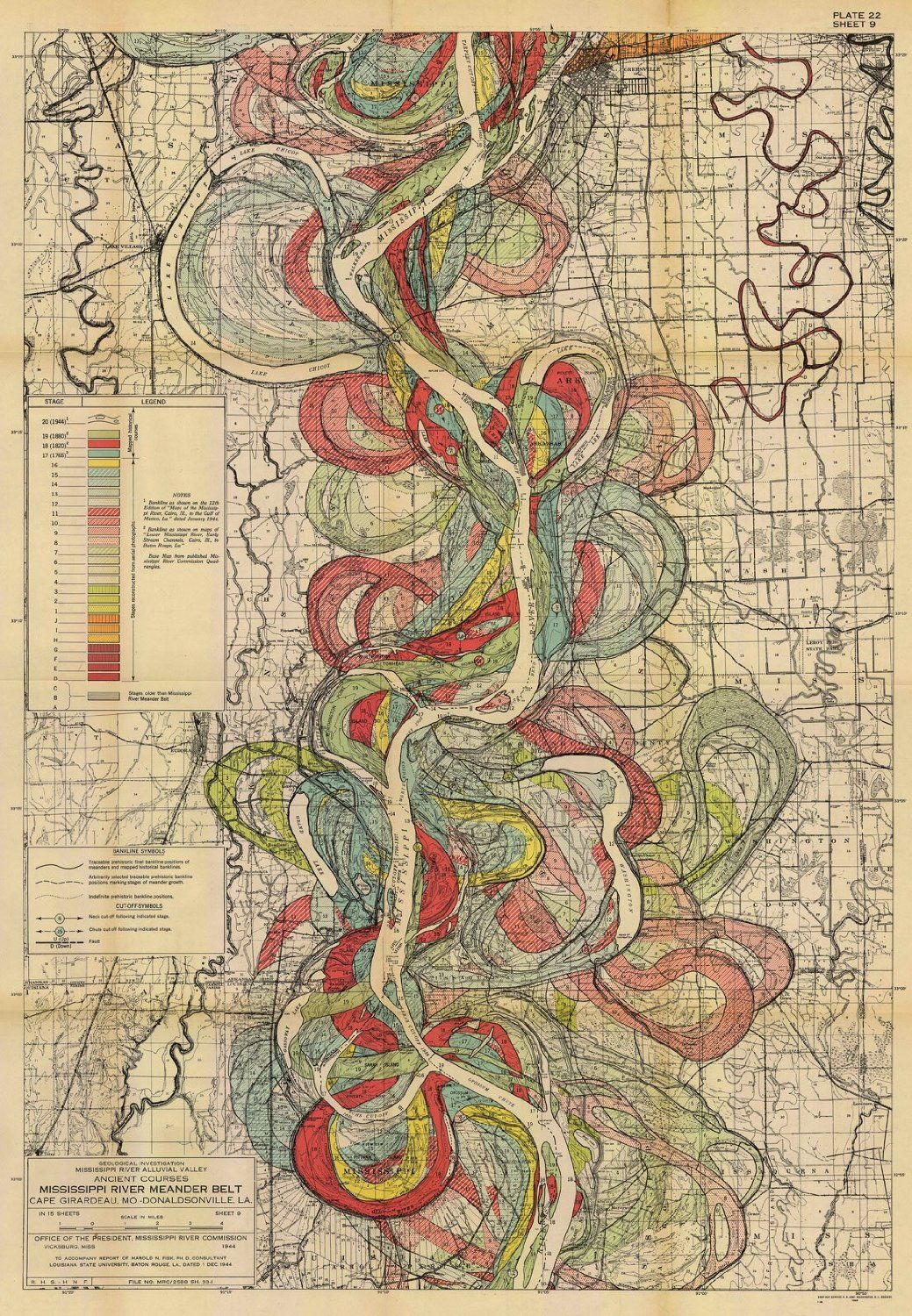 Map Of Ancient Courses Of The Mississippi River