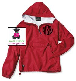 MONOGRAMMED Pullover Wind Jacket - Water Resistant - Flannel Lined - Miss Lucy's Monograms