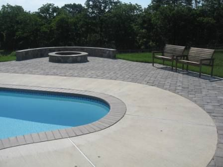 Paver And Concrete Around Pool | Existing Pool, Brushed Concrete, Paver  Patio, Knee Wall, Fire Pit .