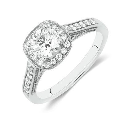 cool Halo Ring with 1 Carat TW of Diamonds in 14ct White Gold by Michael Hill