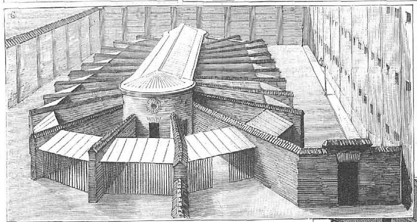 Interior de la Cárcel Modelo de Madrid, de Nao (cropped, paseos celulares) - Cárcel Modelo de Madrid - Wikipedia, la enciclopedia libre