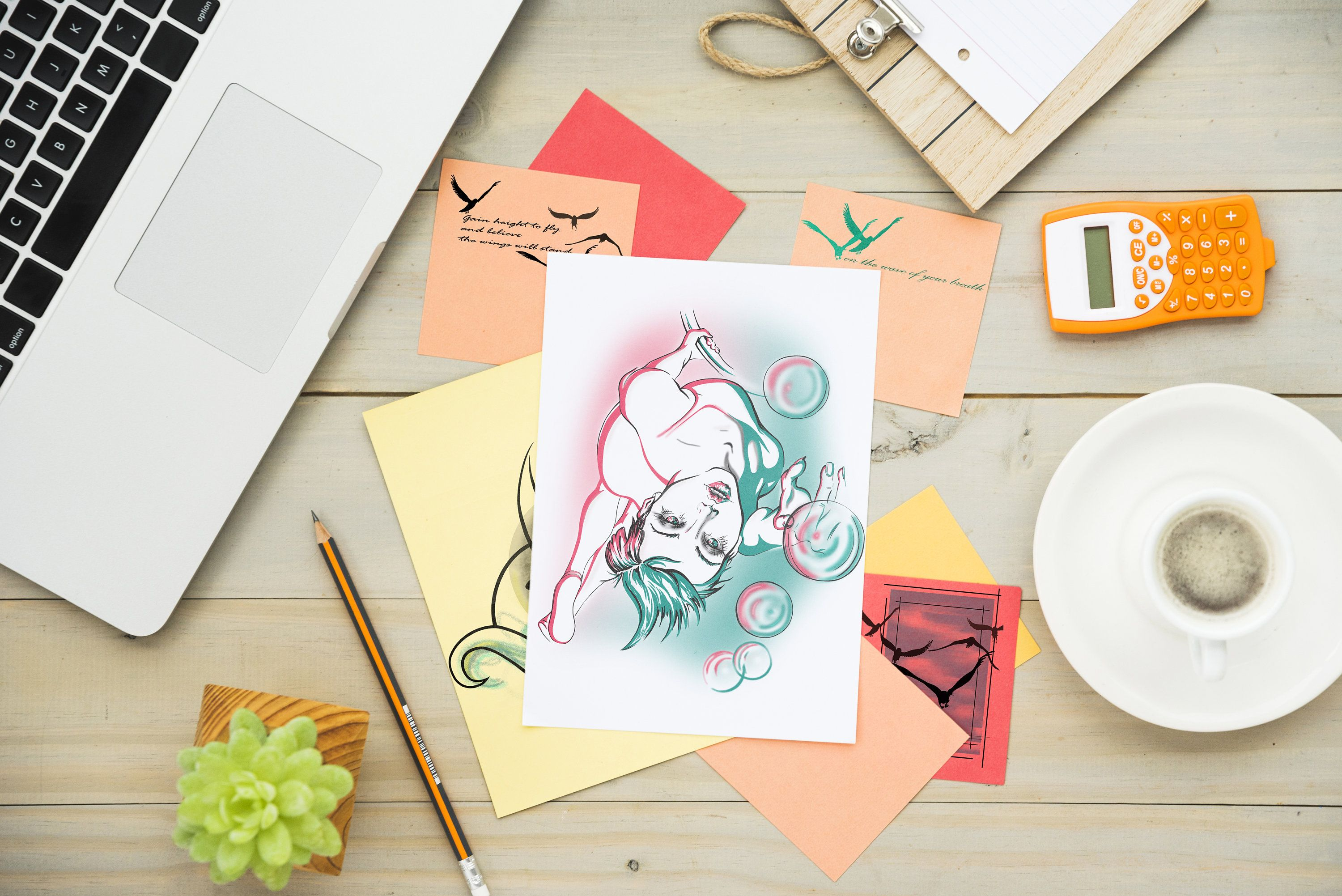 Gymnastic Woman Acrobat Pointing Bubbles Instantly Downloadable Digital Handmade Green Pink Graphic Drawing Home Salon Art Print Colorful Drawings Drawing Prints Salon Art