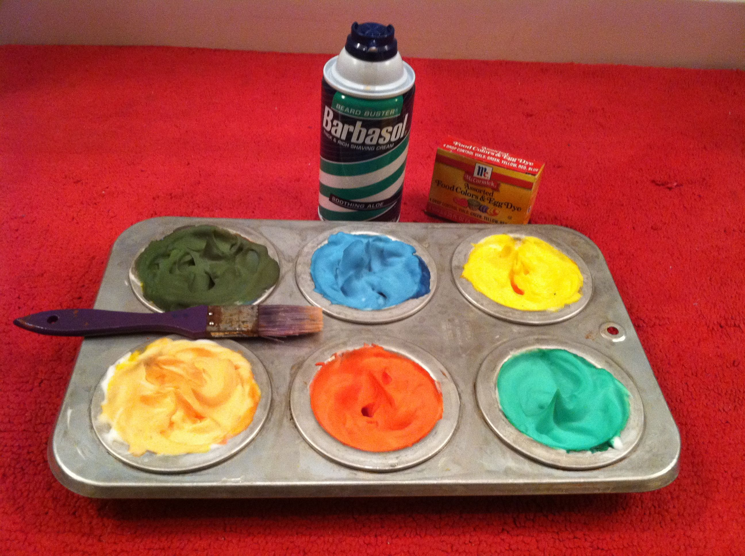 Shaving cream and food dye makes for fun painting in the shower. My ...
