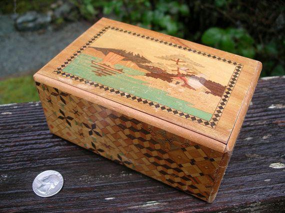 Vintage Japan Wooden Puzzle Box Inlaid By Theoddoldtriedntrue