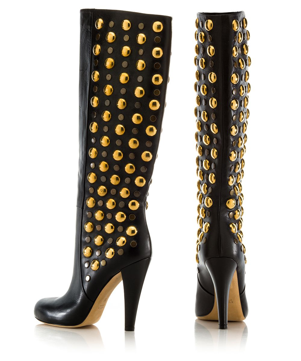 Gucci Boots leather -woven detail studs gold YcFiVufm8Z