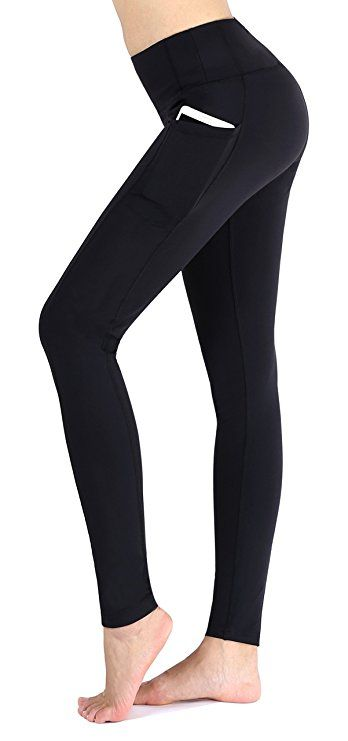 Neonysweets Women s Workout Leggings With Pocket Running Yoga Pants Black L 9e914a7002a
