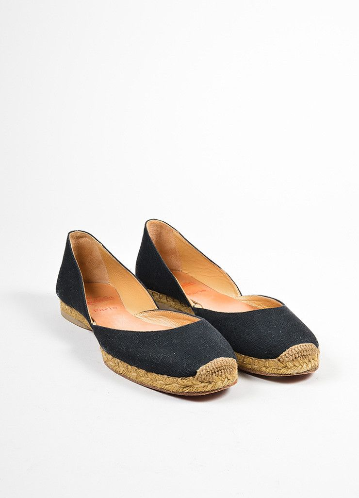 Black and Taupe Christian Louboutin Canvas Jute Flat