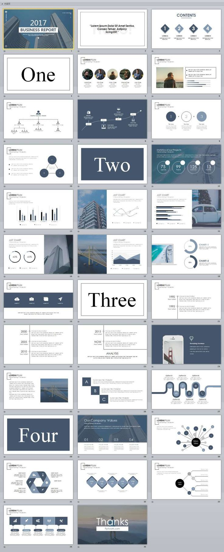 35 slide white magazine style powerpoint templates プレゼン