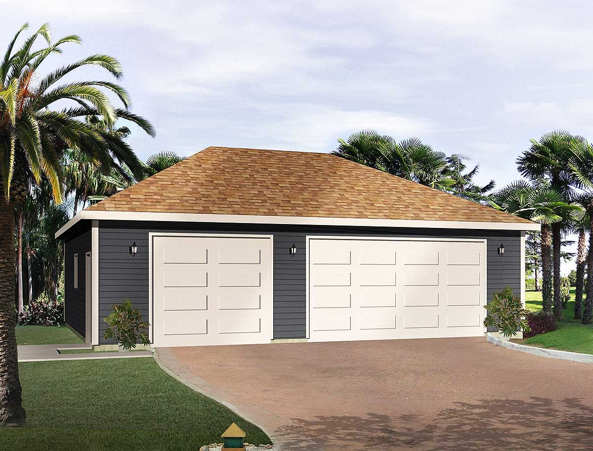 Plan 22053sl Hip Roof 3 Car Drive Thru Garage Hip Roof Garage Plan Garage Design