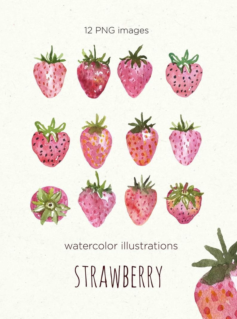 Strawberry Clipart Summer Strawberry Clipart Watercolor Strawberry Clipart Commercial Use Wedding clipart Invitation clipart Wreath