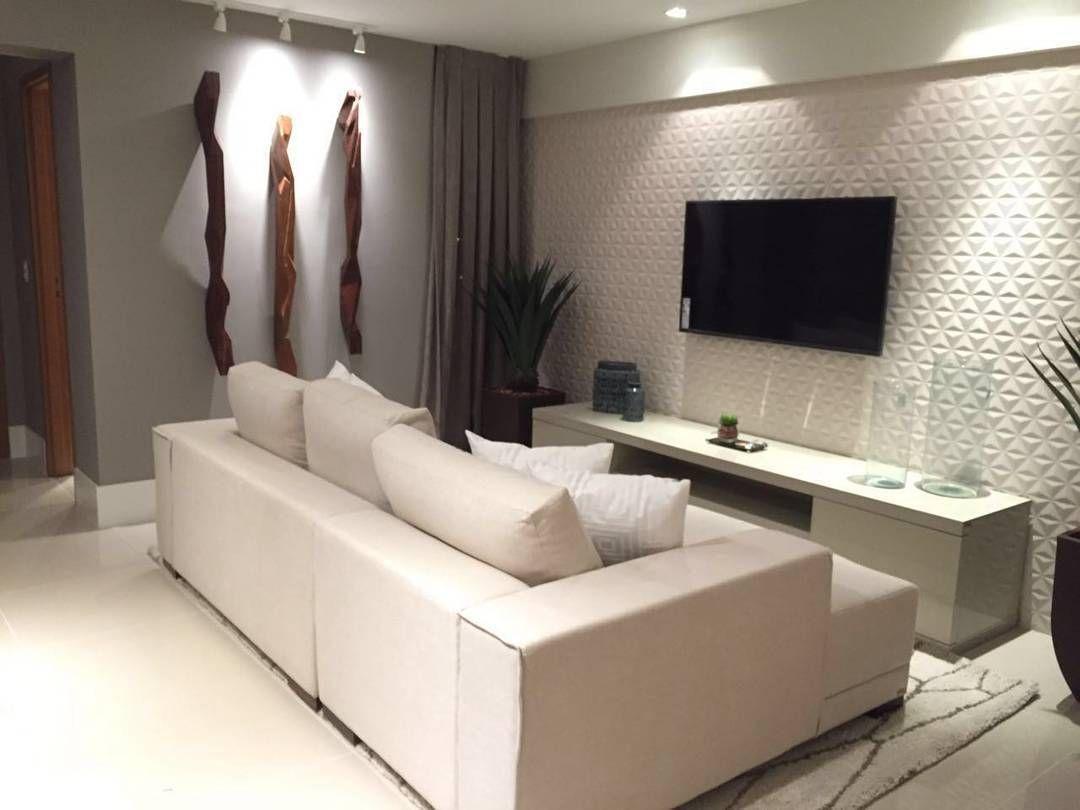 Projeto Das Arquitetas Jessica E Iris Sala Do Apartamento  -> Painel De Sala Com Ceramica